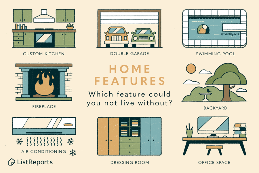 Graphic showing some common home features