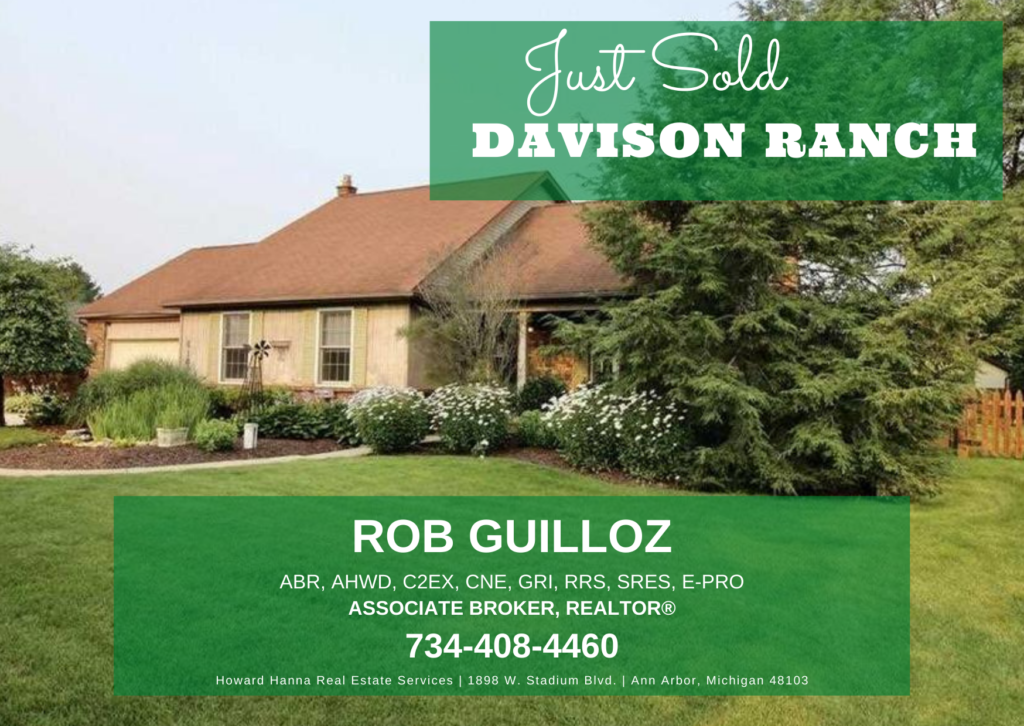"""Picture of a house with """"Just Sold"""" and """"Davison Ranch"""" banner across the top and agent contact information at the bottom."""