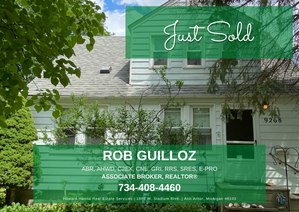 """Picture of a house with """"Just Sold"""" banner across the top and agent contact information at the bottom."""